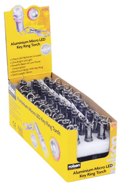 2x Aluminium Micro LED Key Ring Torch