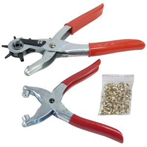 LEATHER PUNCH & EYELET PLIER SET - WITH 100pc EYELETS