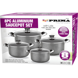 8pc Aluminium Casserole Cookware Set with Glass Lids