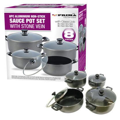 8pc Aluminium Cookware Set with Glass Lids